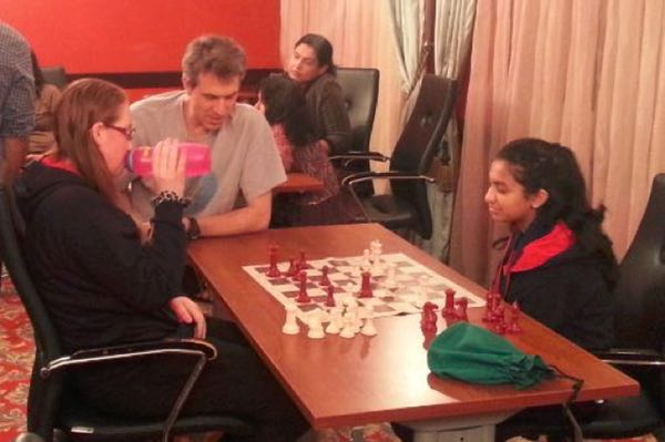 Zoe and Akshaya playing a friendly game